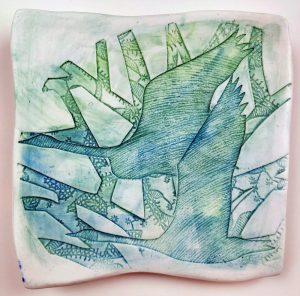 Swan porcelain hanging plate